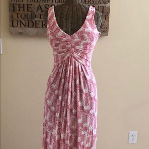 Tart Red White Print Maxi Dress S